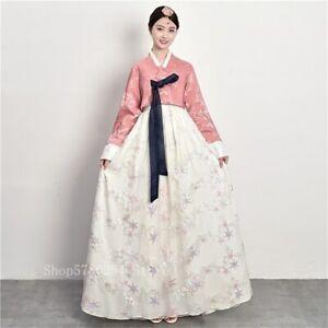 Korean Traditional Hanbok Dress Retro Lace Wedding Party Gown Royal Elegant