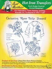 Carnation Rose Tulip #3924 Aunt Martha's Hot Iron Embroidery Transfer Pattern