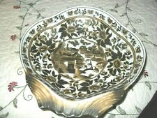 Gorgeous asian porcelain dish, unusual in shape and style, brown & white, w/mark