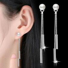 Vogue Women Popular Tassel Pearl Pendant Dangling Silver Long Earrings Hot New