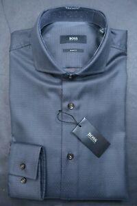 Hugo Boss Men's Jason Slim Fit Charcoal Brown Spotted Cotton Dress Shirt 37 14.5