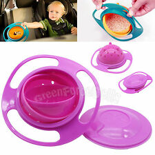 Baby Kid Children Gyro Food Bowl Dishes 360 Rotate Spill-Proof with Lid Pink