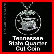 Tennessee 25¢ TN Quarter Cut Coin Necklace Music Fiddle Guitar Music Nashville