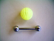 """14g 5/8"""" Soft Silicone Neon Removable French Tickler Koosh Tongue Barbell Yellow"""