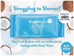 FreshWipes Plastic Free, Biodegradable Bed Bath Shower/Body Wipes - COCONUT