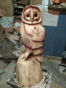 GREAT CHRISTMAS GIFT SUSSEX CHAINSAW CARVING WOOD OWL GARDEN RUSTIC SCULPTURE