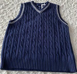NEW Gap Kids Boys Navy Blue White Cable Knit Sweater Vest XS 4-5