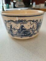 Antique English Empire Porcelain, Staffordshire Nautical Hand Painted Blue Bowl