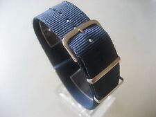 Relojes pulsera nylon azul azul oscuro 24 mm OTAN banda hebilla textil