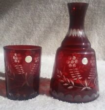 Ruby Red Cut to Clear Decanter & Glass