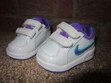 NEW UK 1.5 Baby Girls NIKE Trainers Hard Sole White Purple Hook & Loop Glitter