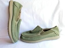 Sz 9, Men's Green Canvas Crocs Loafer Shoes