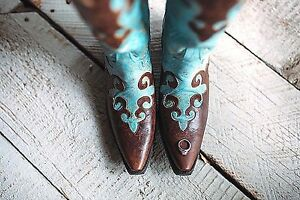 """Lane Cowgirl Turquoise and Brown """"Dawson"""" Boots LB0023A """