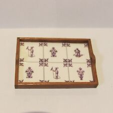 Tray ~ wooden with tiled base ~ Doll House Miniature ~ 1/12 scale