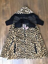 NWT JUICY Couture 14 years XL faux fur cape throw jacket poncho cheetah leopard