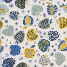 Textiles français An Apple A Day fabric - blue/yellow - 100% Cotton (Per 50 cm)