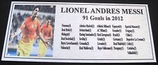 Soccer LIONEL MESSI 91 Goals 2012 Tribute Silver Sublimated Plaque  Free Postage