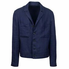 NWT CARUSO Navy Blue Linen Herringbone Jacket Coat 50/40