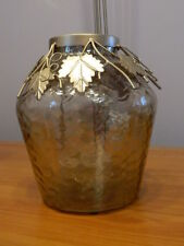 NEW Thanksgiving Fall Candle Holder Centerpiece Gold Leaves Gold Glass Mercury?