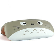 Cute Cartoon Glasses Case Cat Face Print Faux Leather Eyewear Cases Gray Gift