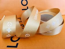 """New! LOUIS VUITTON 36"""" INCHES (1 Yard) Authentic GOLD Solid Satin Ribbon"""