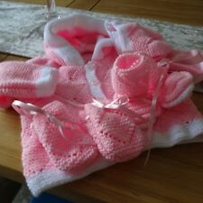 Hand Knitted Baby Girl's Jacket, Bonnet, Mitts & Bootees