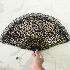 Marrón Diseño de leopardo Tela Estampada Plegables Abanico Manual negro