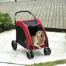 New listing 4 Wheel Folding Pet Stroller Travel Folding Carrier Medium or Large Size Dogs Re