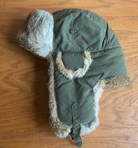 Mad Bomber Men's 100% Nylon Olive Green with Rabbit Fur Hat, Size M