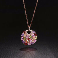 Multicolor For Women Jewelry Crystal Round Sweater Chain Pendant Necklace