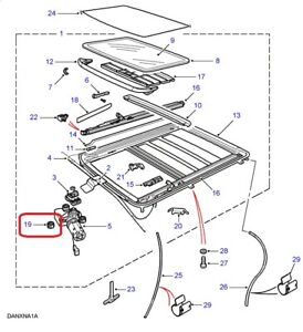 ( 1 ) GENUINE LAND ROVER EFD100030 SPACER - Sunroof Motor 1986-2002 Range Rover