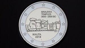 2 euro 2018 MALTA Malte Menaidra Mnajdra temples siti preistorici Мальта