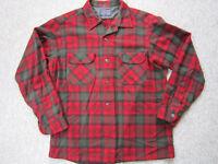 Pendleton Vintage Wool Board Shirt Green Red Plaid Loop Collar Flap Pocket L