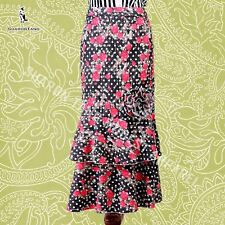 SHARON TANG Modest Apparel Stretch Denim Ruffle Big Flower Skirt M ST13080088-16