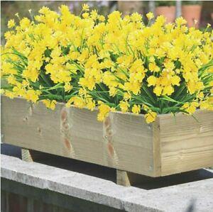 8 Bundles Artificial Flowers Fake Outdoor Plants UV Resistant Garden/Decor Yello