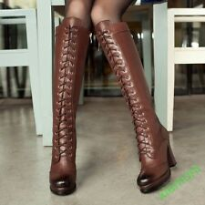 Womens Riding Lace up High Heel Platform Vintage Knee High Boot Shoes All UK Sz