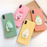 For Huawei Samsung iPhone Lot Milk Botlle Quicksand Cover Shockproof Phone Case