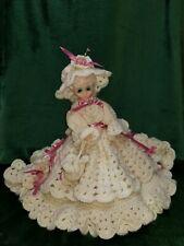 Vintage Sleepy Eye Plastic Doll With Beautiful Crochet Dress, Hat, And Purse