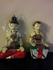 "Traditional A pair Javanese 12""M/10""F Hand Craved Hand Painted Loro Blonyo Wed"