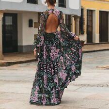Womens Summer Floral Long Maxi Dress Cocktail Party Evening Sundress Open Back