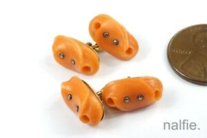 UNUSUAL ANTIQUE FRENCH 18K GOLD & FINELY CARVED NATURAL CORAL CUFFLINKS
