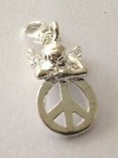 SILVER CHERUB ON TOP OF A PEACE SIGN CLIP-ON CHARM FOR BRACELETS- SILVER PLATE