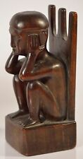 Antique Wood Carved African Bookends, Hand Carved, Aged & STUNNING!