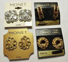 MONET Signed Vintage Clip On Earrings  *LOT of 4 PAIRS* Still on Cards