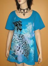 New SEXY SNOW LEOPARD TOP BLUE BLACK GRAY Tunic Tee T-Shirt 22 24 PLUS SIZE 3X