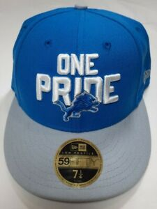 """🏈 Detroit Lions New Era NFL 59FIFTY Fitted 7 1/4"""" NFL Hat One Pride Low Profile"""