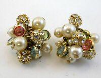 Vintage Fornash Clip on Earrings Multiple Rhinestone Faux Pearl Goldtone Metal