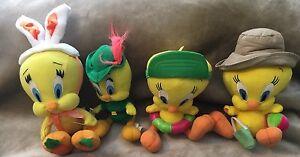 "Tweety Bird Plush Lot Of 4 Robin Hood, Spring, Summer 9"" Toy Collectible"