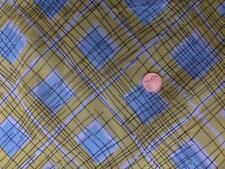 "vtg mid century modern blue yellow white black organza fabric 36"" w x 95+"" long"