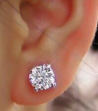 1 Carat Real Diamond Solitaire Studs 14K Solid White Gold Bridal Earrings